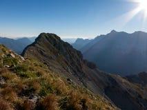 Mountain ridge to the summit stock photo