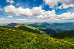 Mountain ridge and valley in beautiful Carpathians Royalty Free Stock Photography