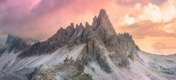 Mountain ridge view of Tre Cime di Lavaredo, South Tirol, Dolomites Italien Alps. Mountain ridge view of View of Drei Zinnen or Tre Cime di Lavaredo, South Tirol stock photo