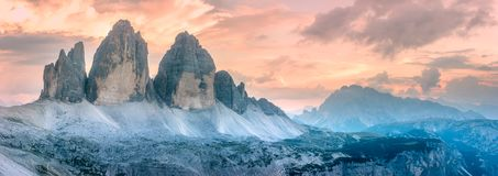 Mountain ridge view of Tre Cime di Lavaredo, South Tirol, Dolomites Italien Alps. Mountain ridge view of View of Drei Zinnen or Tre Cime di Lavaredo, South Tirol royalty free stock photography