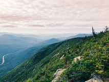 The mountain ridge views from Cannon Mountain. Cannon Mountain is a peak in the White Mountains of New Hampshire United States.The views of mountain ridge and royalty free stock photo
