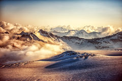 Mountain ridge of Western Caucasus at sunset or sunrise Royalty Free Stock Images