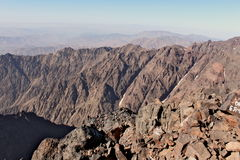 Mountain ridges in Morocco. Trekking on Toubkal Royalty Free Stock Images