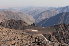 Mountain ridges in Morocco. Trekking on Toubkal Royalty Free Stock Photography