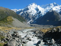 Mountain River. Ranges near Mt Cook New Zealand, along the Hooker Valley. Old glacier melting into a river Stock Photos