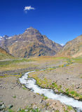 Mountain River. Beautiful scene of the Andes mountain range and a small river royalty free stock photography