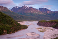 Mountain River Alaska Wilderness Outdoors Royalty Free Stock Photos
