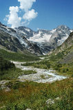 Mountain river. North Caucasus high mountain valley on a daylight and a mountain river Stock Photos