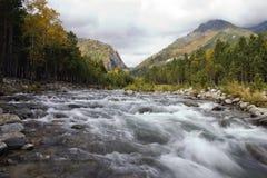 The mountain river. Autumn. A mountain valley. The mountain river Stock Photo