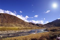 Mountain and river. Landscape with bright sun. location is in Tibet of China Royalty Free Stock Photos