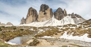 The mountain river against the sharp mountains in Dolomites. royalty free stock image