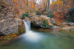 Mountain river in autumn forest Stock Photo