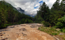 The mountain river Baksan after rains Royalty Free Stock Photos