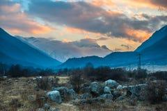 Mountain river Baksan, ravine Adyr-Su, Elbrus area, Greater Caucasus Range. Elbrus, mountains in summer. Greater Caucasus Mountains from Mount Elbrus Stock Images