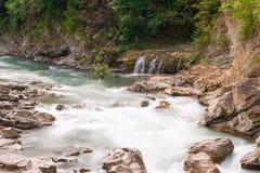 Mountain river Belaya and waterfall, long exposure Royalty Free Stock Photography