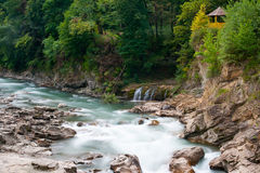 Mountain river Belaya and waterfall, long exposure Royalty Free Stock Images