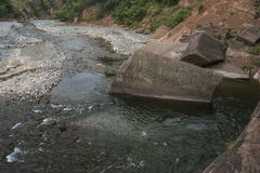Mountain river with a big rock Royalty Free Stock Photography