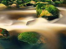 Mountain river with blurred waves of clear water. White curves in rapids between mossy boulders and bubbles create trails. Royalty Free Stock Images