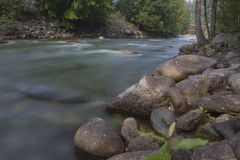 Mountain River with long exposure Royalty Free Stock Photo