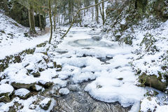 The mountain river in canyon  in Baden-Baden. Royalty Free Stock Photo