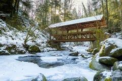 The mountain river in canyon  in Baden-Baden. Royalty Free Stock Photos