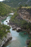 The mountain river in the canyon. Clear water of Moracha river, Montenegro Royalty Free Stock Photography