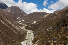 Mountain river canyon ravine stream, Nepal. Royalty Free Stock Photos