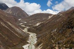 Mountain river canyon ravine stream, Nepal. Royalty Free Stock Photos