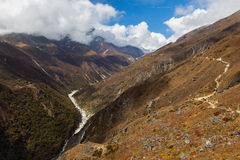 Mountain river canyon ravine stream, Nepal. Stock Photos