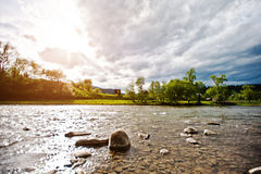Mountain river in Carpathian mountains Stock Images