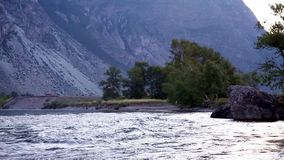 Mountain river Chulyshman, Altai, Russia stock video footage