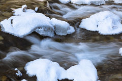 Mountain river covered with ice and snow. Stock Photo