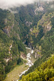 Mountain river in deep kanyin in Khumbu valley Royalty Free Stock Photography