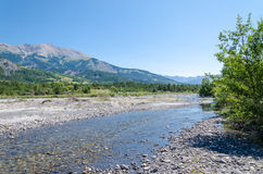 Mountain river during drought Royalty Free Stock Photo