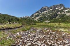 Mountain river and Dzhangal peak and Banski lakes, Pirin Mountain Stock Photos