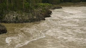 Mountain river, fast flow through mountain valley in a summer day stock video footage