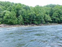 Mountain River. Fast flowing mountain river, surrounded by wooded banks and dotted with large rocks stock image