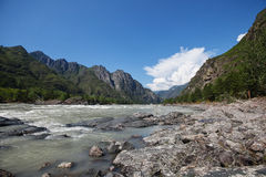 Mountain river. Fast river with stones in the mountains stock photo