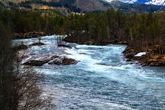 The mountain river, fjord and forest, Norway, north Royalty Free Stock Image