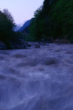 Mountain river flow  in summer time Royalty Free Stock Image