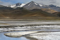 The mountain river flowing along the salt desert among high Tibetan hills, the white banks of salt look like snow, Northern India. The mountain river flowing Royalty Free Stock Photos