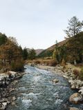 Mountain river in the fall stock photos