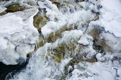 Mountain river flowing rapidly Lamai ice and honing stones rocks. Stock Images