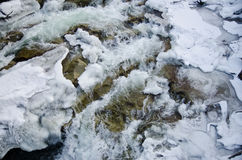 Mountain river flowing rapidly Lamai ice and honing stones rocks. Mountain river flowing rapidly Lamai ice and honing stones rocks stock images