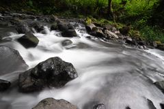 Mountain river flowing through rocks stock images