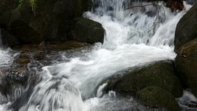 Mountain river flowing through stones. Close up cascade of foamy river stream stock footage