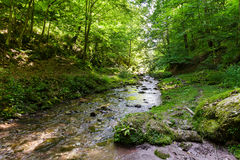 Mountain river flowing through valley. Landscape with a beautiful valley and a river on mountains Stock Images