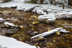 Mountain river flowing in winter snowy forest. Stock Photo