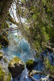 Mountain river flows crystal clear water flowing between the rocks and green trees stock image
