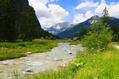 Mountain river flows through green valley Royalty Free Stock Images